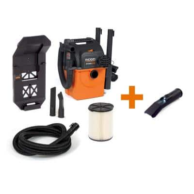 5 Gal. 5.0-Peak HP Portable Wall-Mountable Wet/Dry Shop Vacuum with Filter, Hose, Accessories and LED Car Nozzle