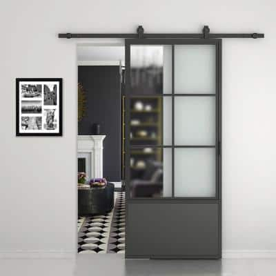 37 in. x 84 in. 3/4 Lites Frosted Glass Black Steel Frame Interior Barn Door with Sliding Hardware Kit and Door Handle