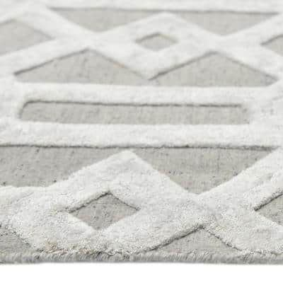 Rae Contemporary Transitional Smoke 9 ft. x 12 ft. Hand Loomed Area Rug
