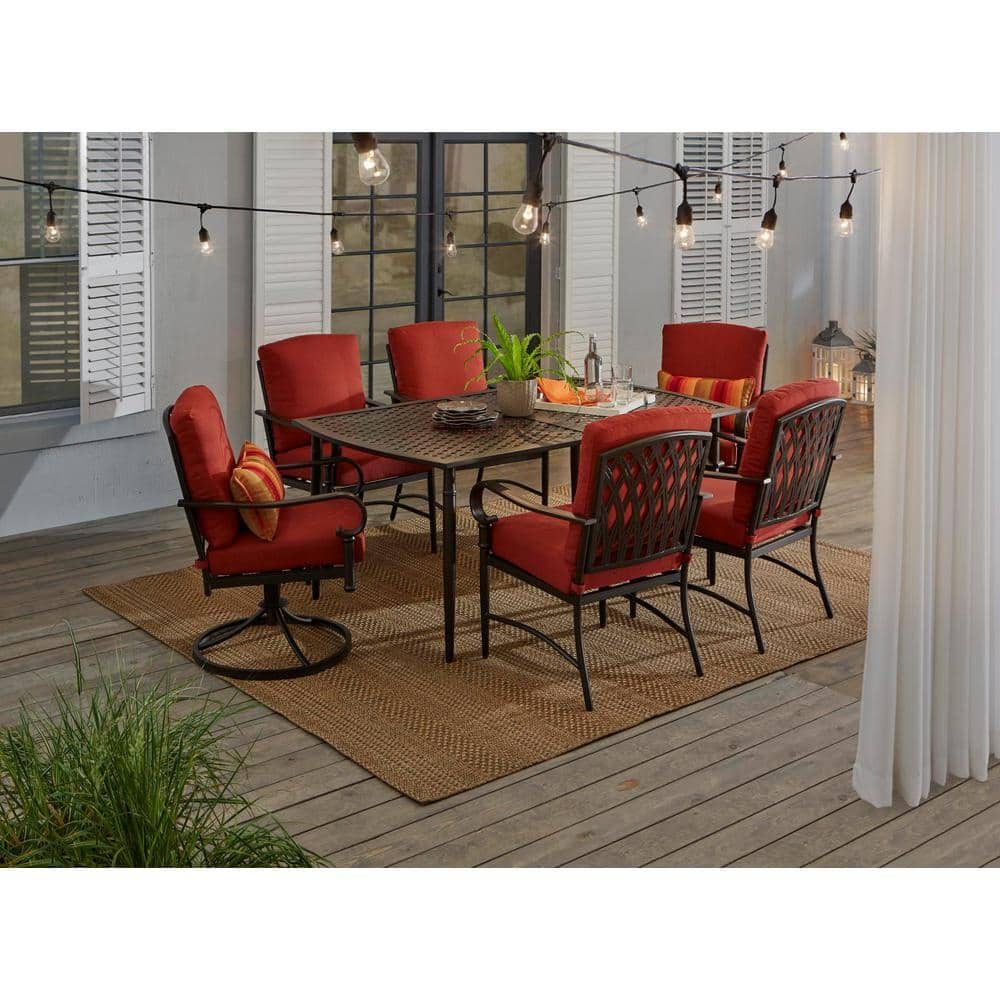 Hampton Bay Oak Cliff 10 Piece Outdoor Dining Set with 10 Stationary & 10  Swivel Chairs and Chili Cushions 1106 1011 10D V10   The Home Depot