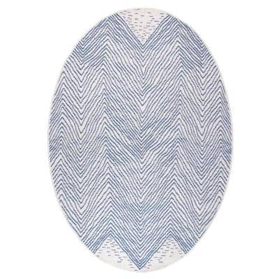 Wavy Chevron Blue 6 ft. x 9 ft. Oval Outdoor Area Rug