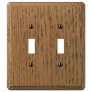 Contemporary 2 Gang Toggle Wood Wall Plate - Medium Oak
