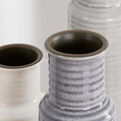 Stone Grey, Shadow Grey and White Ceramic Decorative Vases (Set of 3)