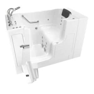 Gelcoat Premium 52 in. Left-Hand Walk-In Whirlpool and Air Bathtub in White