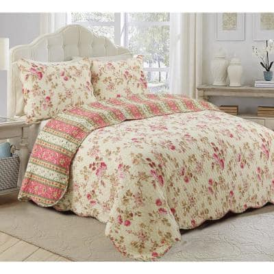 Vintage Floral Rose Chintz 3-Piece Khaki Pink Green Scalloped Cotton Queen Quilt Bedding Set