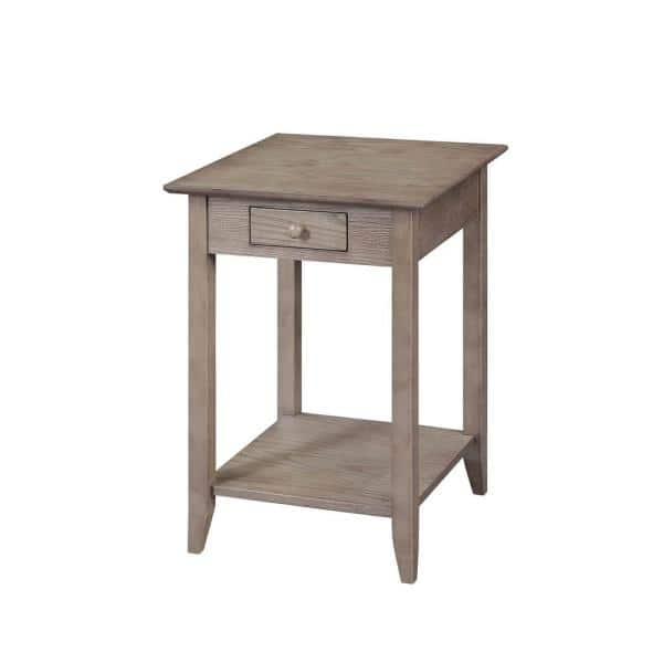 Convenience Concepts American Heritage Driftwood Drawer And Shelf End Table R6 276 The Home Depot