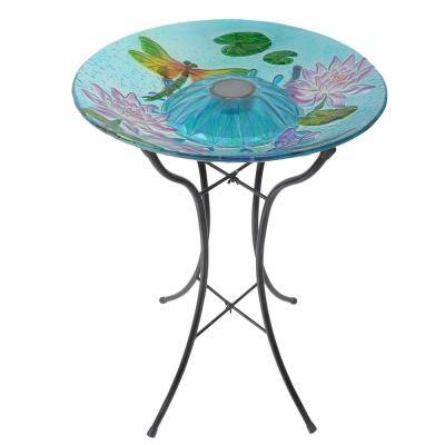 18 in. Glass Dragonfly Outdoor Fusion Solar Birdbath
