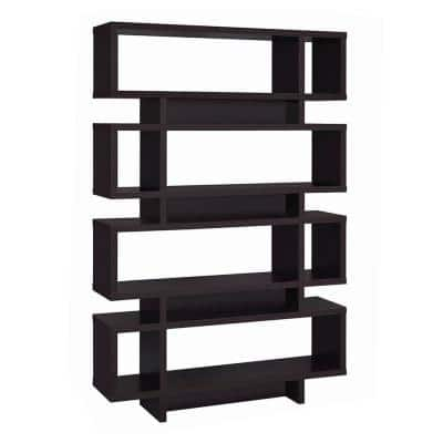 72.75 in. Brown Wood 8-shelf Accent Bookcase with Open Back