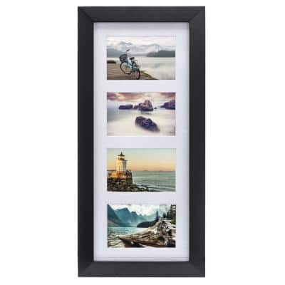 4 in. x 6 in. Berkeley Matted Black Wood Collage 4-Opening Picture Frame