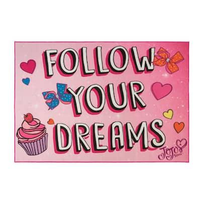 Jo Jo Siwa's Multi-Colored 5 ft. x 7 ft. Follow Your Dreams Indoor Juvenile Area Rug