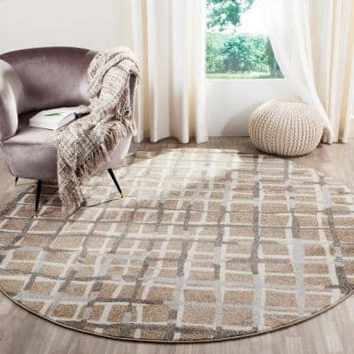 Amherst Wheat/Beige 7 ft. x 7 ft. Round Striped Geometric Area Rug