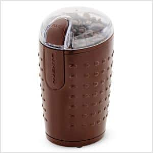 2.5 oz. Brown One-Touch Electric Coffee Grinder with Transparent Easy Open Lid and Stainless Steel Blades