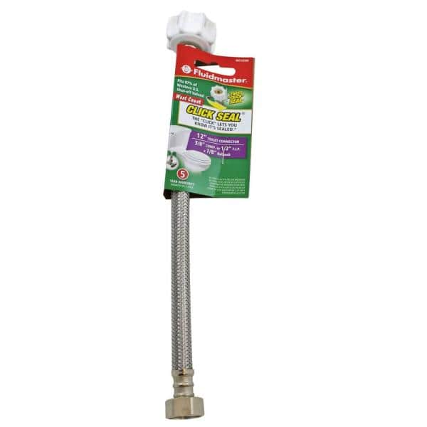 Fluidmaster Click Seal 7 8 In Bc X 1 2 In Fip X 12 In Toilet Connector With 3 8 In Adaptor B4t12csw The Home Depot
