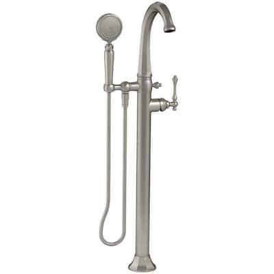 Kelston 1-Handle Floor Mount Bath Filler with Hand Shower in Vibrant Brushed Nickel