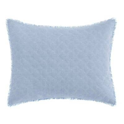 Mila Blue 1-Piece 16 in. x 20 in. Cotton Throw Pillow