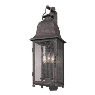 Larchmont 3-Light Aged Pewter Outdoor Wall Lantern Sconce