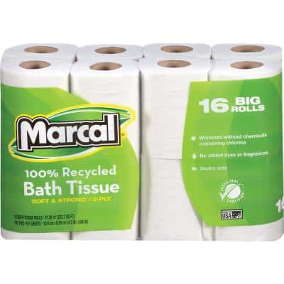 100% Recycled, Soft. and Absorbent Toilet Tissue (168 Sheets Per Roll 16 Per Pack)
