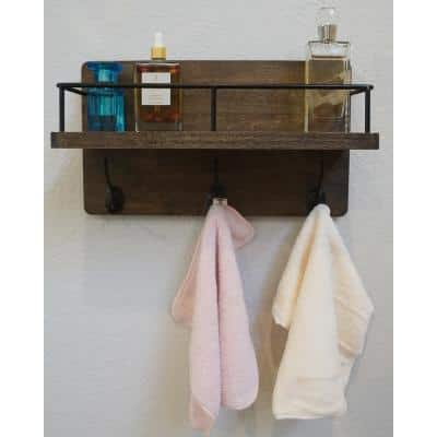 Brown Floating Wall Mounted Storage Shelf for Kitchen, Bathroom