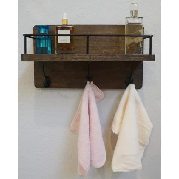 Admired By Nature Brown Floating Wall, Bathroom Wall Rack