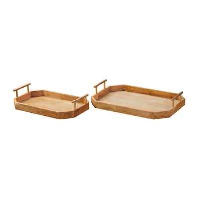 Natural Wood Decorative Octagonal Tray (Set of 2)
