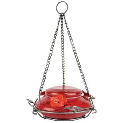 Red Crackle Modern Top Fill Hummingbird Feeder