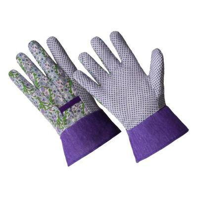 Ladies Small/Medium Purple Flower Poly/Cotton Blend Glove with PVC Dotted Palm and Band Top Cuff