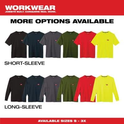 Men's Large Olive Green Heavy-Duty Cotton/Polyester Long-Sleeve Pocket T-Shirt
