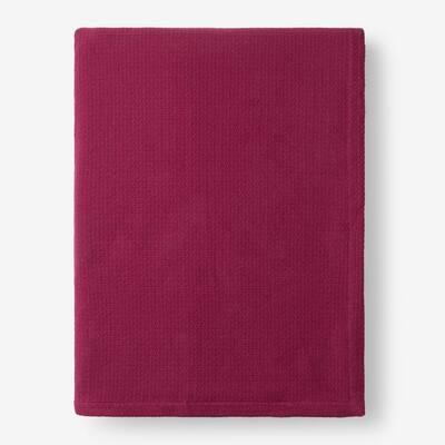 Cotton Weave Raspberry Solid Queen Woven Blanket