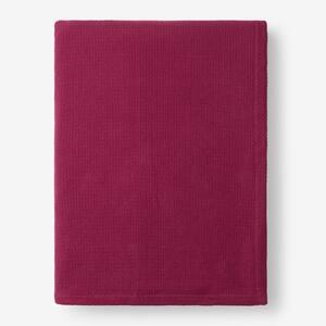 Cotton Weave Raspberry Solid Twin Woven Blanket