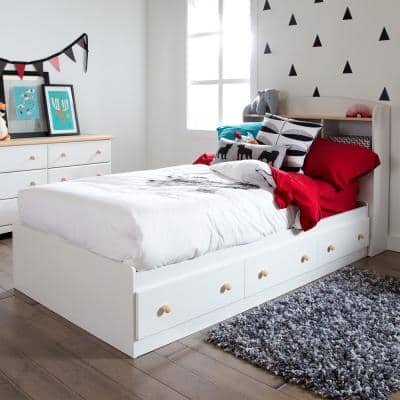 Summertime 3-Drawer Twin-Size Storage Bed in Pure White