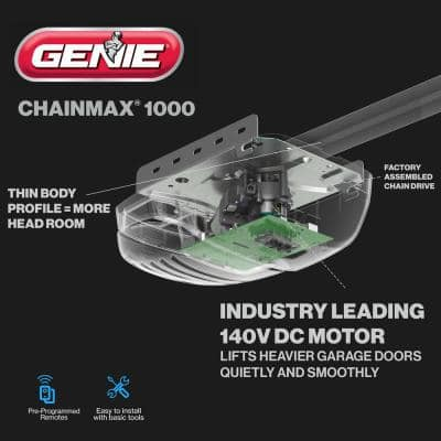 ChainMax 1000 - 3/4 HPc Durable Chain Drive Garage Door Opener- Supreme Lifting Power of a 140-Volt DC Motor