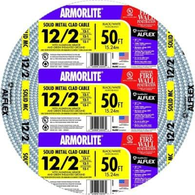 12/2 x 50 ft. Solid CU MC (Metal Clad) Armorlite Cable