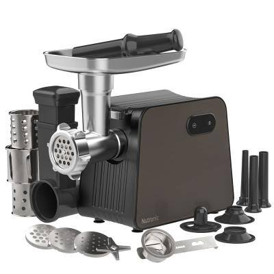 2200 W Black and Silver Stainless Steel Meat Grinder with 3 Size Sausage Stuffer Tubes, 1-Kubbe Kit and 1-Salad Maker
