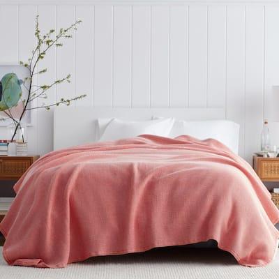 Ellington Apple Red Cotton Twin Woven Blanket