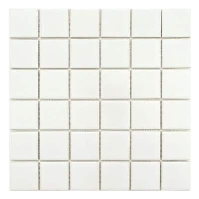 Metro Quad Glossy White 11-3/4 in. x 11-3/4 in. Porcelain Mosaic (9.79 sq. ft. /Case)