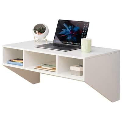 36 in. Rectangular White Floating Desk with Shelves