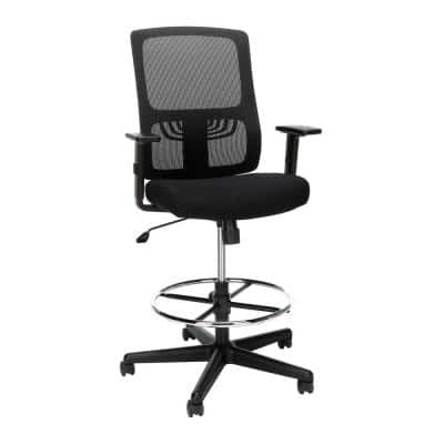 Essentials Collection Black Mid Back, Drafting Stool, Lumbar Support Mesh Drafting Chair
