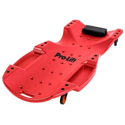48 in. 440 lbs. Capacity Mechanic Plastic Creeper Blow Molded Ergonomic HDPE Body Padded Headrest Dual Tool Trays