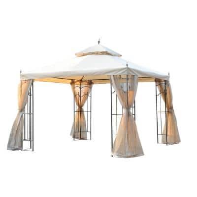 10 ft. x 10 ft. x 9 ft. Steel Outdoor Weather Resistant Garden Gazebo with Mesh Curtain and Dual-Tier Vent Roof, White