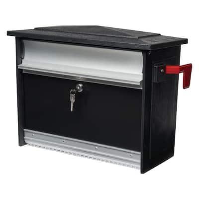 Mailsafe Medium, Aluminum, Locking, Wall-Mount Mailbox, Black