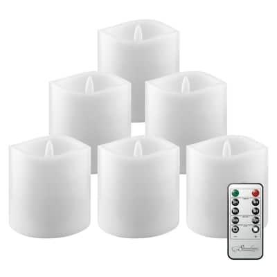 White 3x3 Real Wax LED Candle Set (6 Pk)
