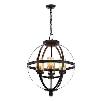 Sfera 6-Light Autumn Bronze Rustic Globe Hanging Candlestick Chandelier with Mercury Glass Shade