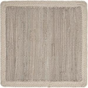 Neutral 15 in. x 15 in. Silver / Cream Bordered Square Cotton Placemats (Set of 4)