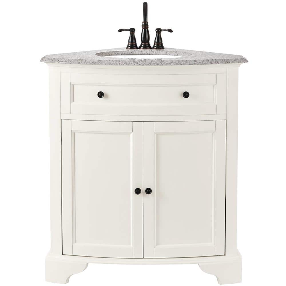 Home Decorators Collection Hamilton 31 In W X 23 In D Corner Bath Vanity In Ivory With Granite Vanity Top In Grey 10809 Cs30h Dw The Home Depot