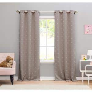 Kensie Print Silver Polyester Blackout Grommet Window Curtain 38 In W X 84 In L 2 Pack Mae 11726d 12 The Home Depot