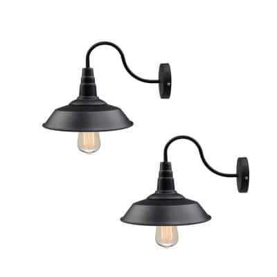 1-Light Black Gooseneck Farmhouse Lighting Barn Sconce (2-Pack)