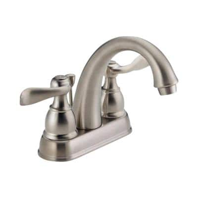 Windemere 4 in. Centerset 2-Handle Bathroom Faucet with Metal Drain Assembly in Stainless