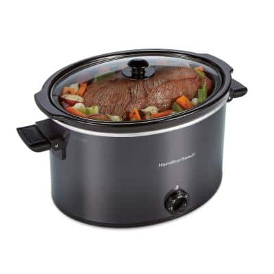 10 Qt. Black Slow Cooker with Folding Handles