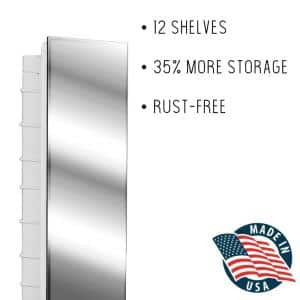 Media 16 in. x 36 in. x 3-1/2 in. Frameless Recessed 1-Door Medicine Cabinet with 12-Shelves and Polished Edge Mirror