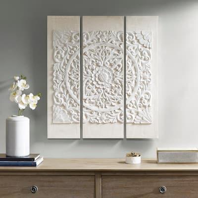 Wooden Mandala White 3D Embellished Canvas Wall Art